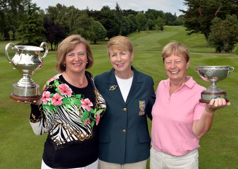 Valerie Hassett (president, Irish Ladies Golf Union) pictured with (left) Gertie McMullen (The Island) winner of the Irish Senior Women's Close Championship and Catherine Bird (Nenagh) winner of the Plate Final
