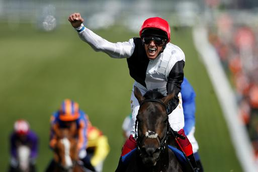 Frankie Dettori celebrates his Epsom derby victory aboard Golden Horn and the pair are in action again today at Sandown