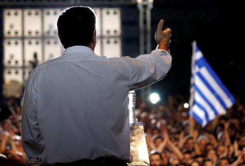 Greek Prime Minister Alexis Tsipras addresess an anti-austerity rally at the Syntagma square