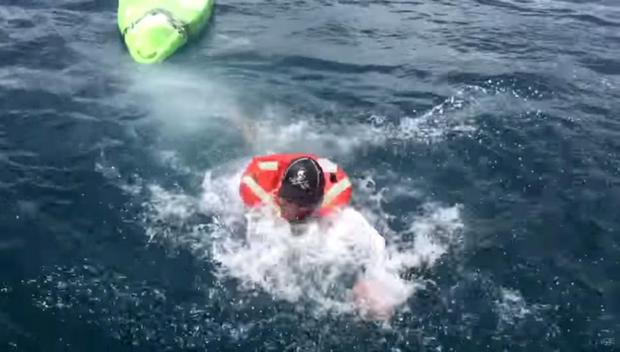 Ben Chancey after he was knocked clear of his kayak by the bull shark