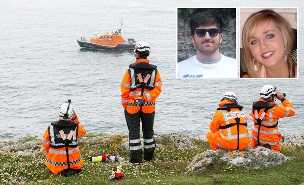 The search continues in Baltimore, West Cork for the body of Barry Davis Ryan (inset right), as the funeral of his girlfriend Niamh O'Connor (inset right) takes place