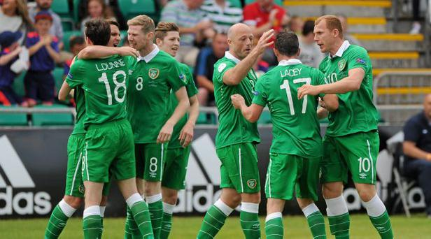 David Lacey, Eastern Region IRL, celebrates with team mates after scoring the opening goal of the game. UEFA Regions Cup Final, Eastern Region IRL v Zagreb. Tallaght Stadium, Tallaght, Co. Dublin, Ireland. Picture credit: Seb Daly / SPORTSFILE