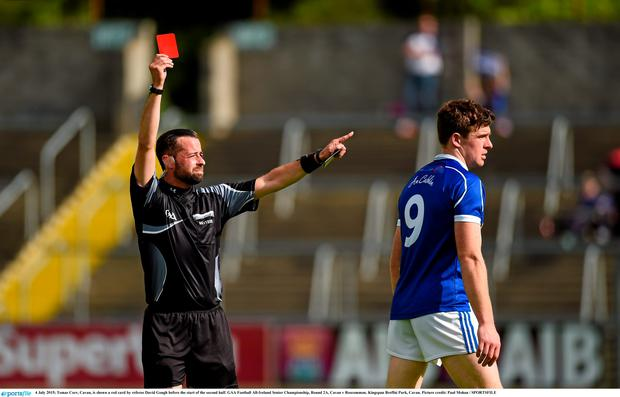 Tomas Corr, Cavan, is shown a red card by referee David Gough