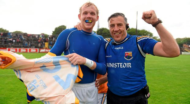 Longford manager Jack Sheedy celebrates his side's victory with Paddy Collum. GAA Football All-Ireland Senior Championship, Round 2A, Clare v Longford. Cusack Park, Ennis, Co. Clare. Picture credit: Stephen McCarthy / SPORTSFILE