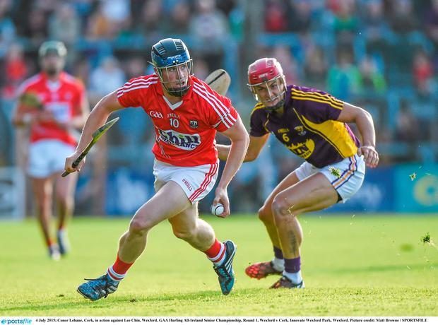 4 July 2015; Conor Lehane, Cork, in action against Lee Chin, Wexford. GAA Hurling All-Ireland Senior Championship, Round 1, Wexford v Cork. Innovate Wexford Park, Wexford. Picture credit: Matt Browne / SPORTSFILE