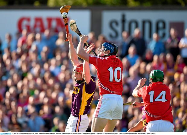 Conor Lehane, Cork, in action against Diarmuid O'Keeffe, Wexford. GAA Hurling All-Ireland Senior Championship, Round 1, Wexford v Cork. Innovate Wexford Park, Wexford. Picture credit: Matt Browne / SPORTSFILE
