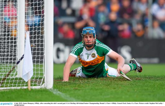 James Dempsey, Offaly, after conceding his side's second goal. GAA Hurling All-Ireland Senior Championship, Round 1, Clare v Offaly. Cusack Park, Ennis, Co. Clare. Picture credit: Stephen McCarthy / SPORTSFILE