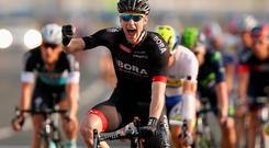 They've changed name this season to Bora-Argon 18 but Bennett's form has been even better: a stage win at the Tour of Qatar (pictured) and two stage wins and a yellow jersey at the Bayern Rundfahrt.