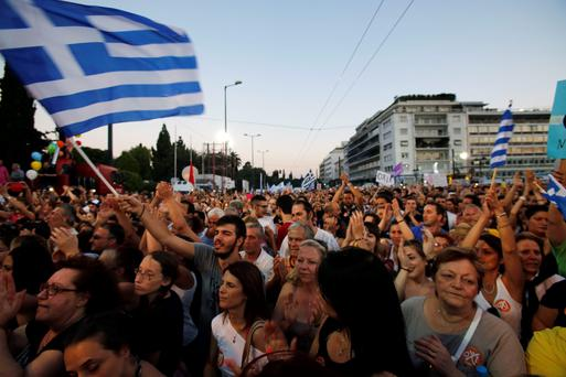 Demonstrators gather during a rally organized by supporters of the No vote in Athens, as more than 1,000 protestors gathered in solidarity with the people of Greece at a demonstration outside the Central Bank in Dublin yesterday (AP Photo/Petros Karadjias)