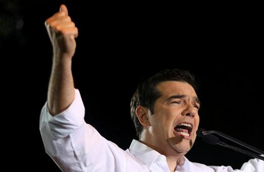 Greek Prime Minister Alexis Tsipras delivers a speech at an anti-austerity rally in Syntagma Square in Athens on Friday (REUTERS/Alkis Konstantinidis)