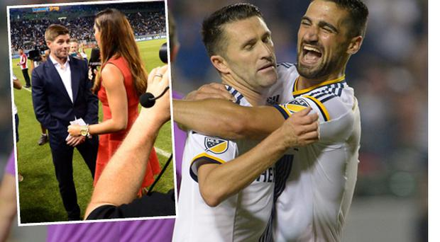 Robbie Keane celebrates and (inset) Steven Gerrard is introduced to the crowd
