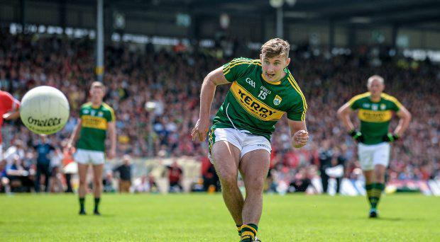 James O'Donoghue, Kerry, scores his side's second goal from a penalty