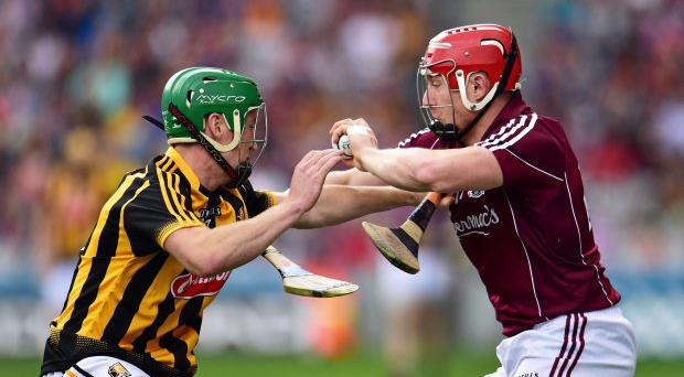 Joe Canning, Galway, in action against Joey Holden, Kilkenny