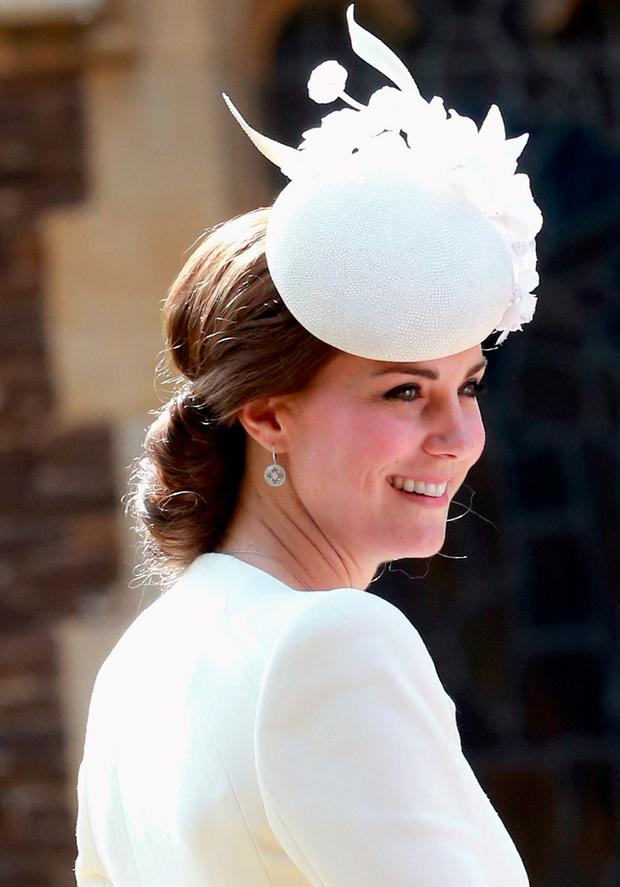Catherine, Duchess of Cambridge arrives at the Church of St Mary Magdalene on the Sandringham Estate for the Christening of Princess Charlotte of Cambridge on July 5, 2015 in King's Lynn, England. (Photo by Chris Jackson - WPA Pool/Getty Images)