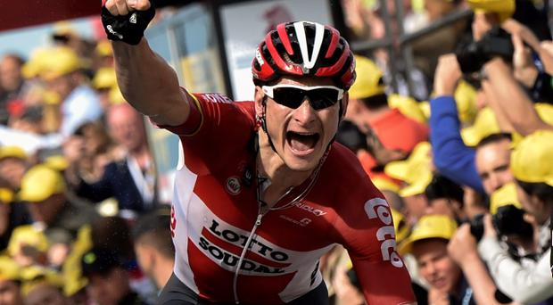 Germany's Andre Greipel celebrates as he crosses the finish line at the end of the 166 km second stage of the 102nd edition of the Tour de France cycling race (Getty Images)