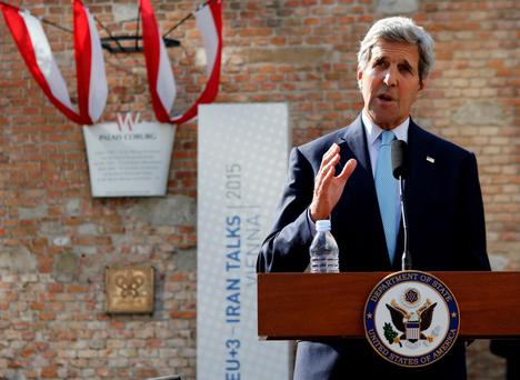 U.S. Secretary of State John Kerry addresses a news conference in front of Palais Coburg, the venue for nuclear talks in Vienna, Austria, July 5, 2015. The top U.S. and Iranian diplomats met for a sixth consecutive day on Sunday to try to resolve obstacles to a nuclear accord, including when Iran would get sanctions relief and what advanced research and development it may pursue. Iran and the United States have made