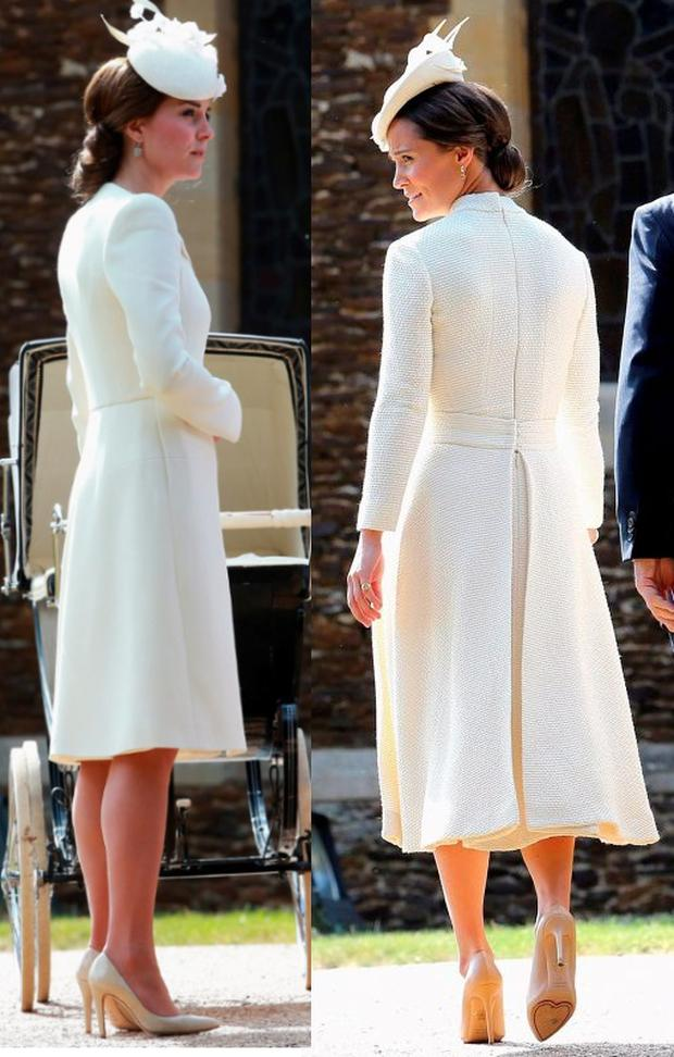 Pippa Middleton donned an identical outfit to her sister Kate at Princess Charlotte's christening
