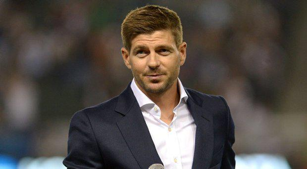 Jul 4, 2015; Carson, CA, USA; Los Angeles Galaxy player Steven Gerrard is introduced at half time of the MLS game against Toronto FC at StubHub Center. Galaxy won 4-0