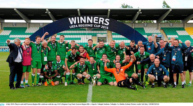 4 July 2015; Players and staff Eastern Region IRL celebrate with the cup. UEFA Regions Cup Final, Eastern Region IRL v Zagreb. Tallaght Stadium, Tallaght, Co. Dublin, Ireland