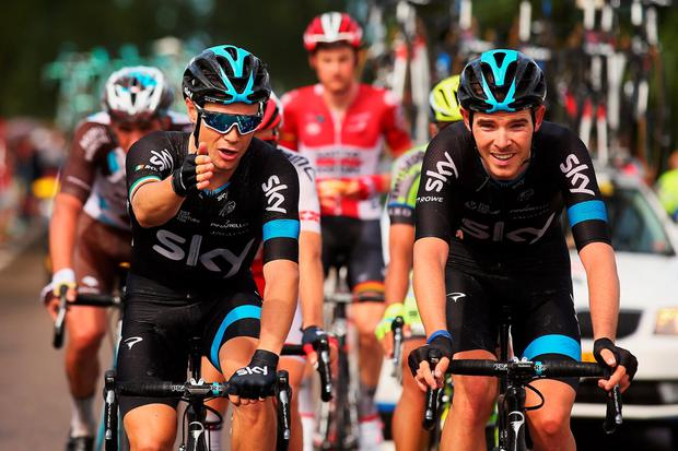 UTRECHT, NETHERLANDS - JULY 05: Nicolas Roche of Ireland (L) and Team Sky and Luke Rowe of Great Britain and Team Sky (R) ride during stage two of the 2015 Tour de France, a 166km stage between Utrecht and Zelande, on July 5, 2015 in Zelande, Netherlands. (Photo by Bryn Lennon/Getty Images)