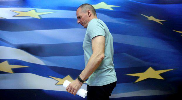 Greek Finance Minister Yanis Varoufakis arrives to make a statement in Athens, Greece July 5, 2015. Greeks overwhelmingly rejected conditions of a rescue package from creditors on Sunday, throwing the future of the country's euro zone membership into further doubt and deepening a standoff with lenders