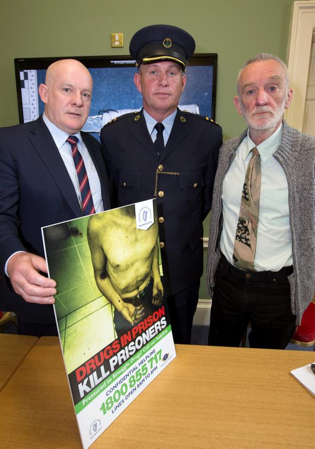 Michael Donnelan, Director General, IPS, Ben Buckley,Chief Officer IPS and Tony Geoghegan, Head of Merchants Quay Drug Project pictured at The launch of The Irish Prison Officers Helpline at Dublin Castle today.