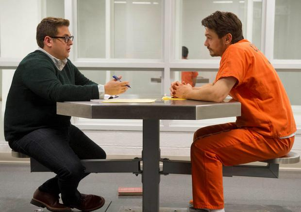 James Franco as Christian Longo and Jonah Hill as Mike Finkel in True Story
