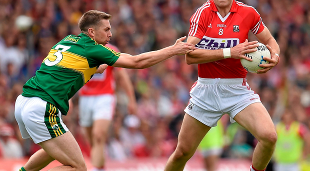 Alan O'Connor, Cork (right), seen here getting tackled by Marc O Se, Kerry, returns to the Cork football squad just after their league final defeat to Dublin ( Brendan Moran / SPORTSFILE)