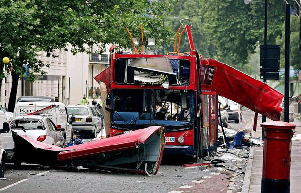The number 30 double-decker bus in Tavistock Square, which was destroyed by a bomb following the terrorist attacks on the capital Credit: Peter Macdiarmid/PA Wire