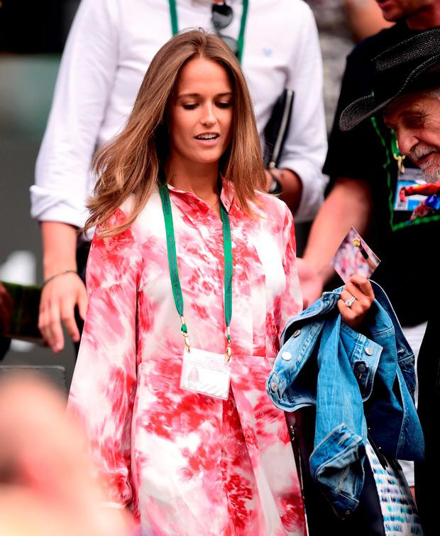 Kim Murray (Sears) takes her place in the players box during day Seven of the Wimbledon Championships at the All England Lawn Tennis and Croquet Club