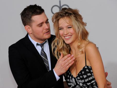 Singer Michael Buble and model Luisana Loreley Lopilato de la Torre