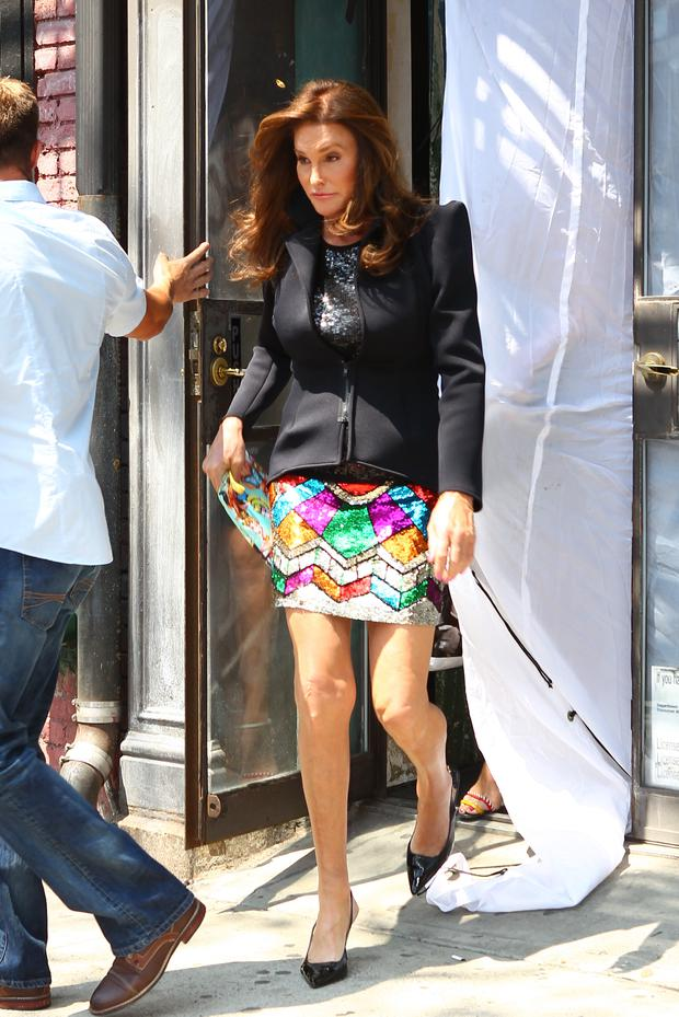 Caitlyn Jenner in a sequin miniskirt in NYC