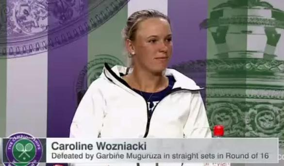 Carloine Wozniack after being asked a question about her ex-fiancé Rory McIlroy