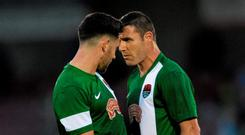 Cork City FC's Billy Dennehy, left, and Mark O'Sullivan square up to each othert after the final whistle of last week's game