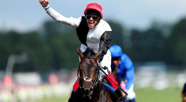 Frankie Dettori celebrating his victory on Golden Horn in the Investec Derby