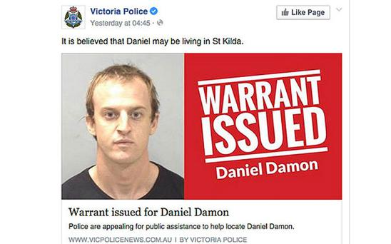 Daniel Damon, who is wanted in conCredit: Victoria Police