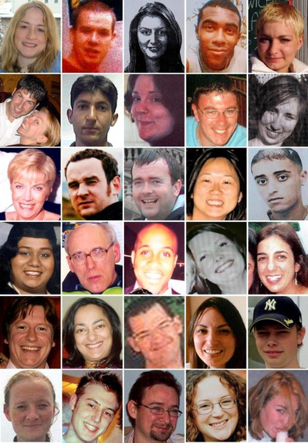 Composite of handout photographs of some of the victims of the London terrorist attacks on 7 July 2005. Top row from left, victims of the Russell Square bomb: Helen Jones, 28; Ciaran Cassidy, 22; Gamze Gunoral, 24; Christian Small; Karolina Gluck. Second row from left, victims of the Russell Square bomb: Couple Lee Harris, 30, and Samatha Badham, 36; Atique Sharifi, 24; Elizabeth Daplyn, 20; Adrian Johnson, 37; Monika Suchocka, 23. Third row from left, victims of the Russell Square bomb: Susan Levy, 53; James Mayes, 28; James Adams; Rachelle Yuen; Ihab Slimane,19. Fourth row from left, victims of the Tavistock Square bomb: Shyanuja Parathasangary; Giles Hart; Anthony Fatayi-Williams; Marie Hartley; Miriam Hyman. Fifth row from left: victims of the Tavistock Square bomb Jamie Gordon and Neetu Jain; victims of the Aldgate bomb Richard Gray, Benedetta Ciaccia and Richard Ellery. Bottom row from left: Aldgate bomb victim Fiona Stevenson; Edgware Road bomb victims David Foulkes, Jonathan Downey, Laura Webb and Jennifer Nicholson. PA Wire