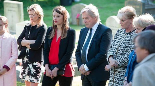 Ken Barlow, Tracy Barlow and Liz McDonald at the graveside during Deidre's burial Pic: Coronation Street/Twitter