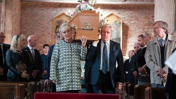 Liz McDonald and Ken Barlow carry Deidre's coffin in a scene to be screened on Monday Pic: Coronation Street/Twitter