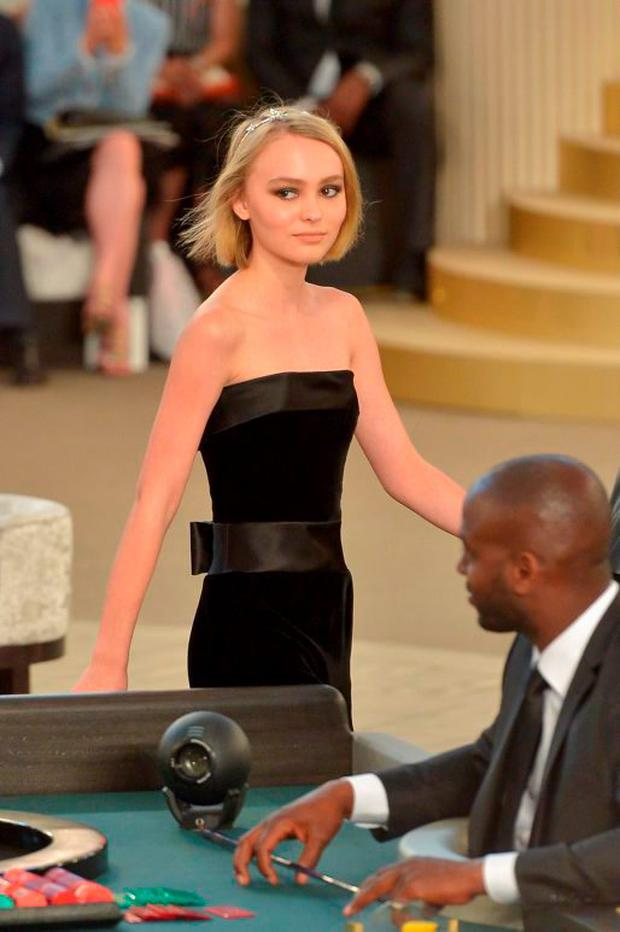 Lily-Rose Depp attends the Chanel show as part of Paris Fashion Week Haute Couture Fall/Winter 2015/2016 on July 7, 2015 in Paris, France. (Photo by Dominique Charriau/WireImage)