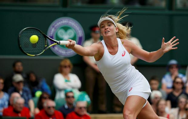 Coco Vandeweghe of the U.S.A. hits a shot during her match against Maria Sharapova