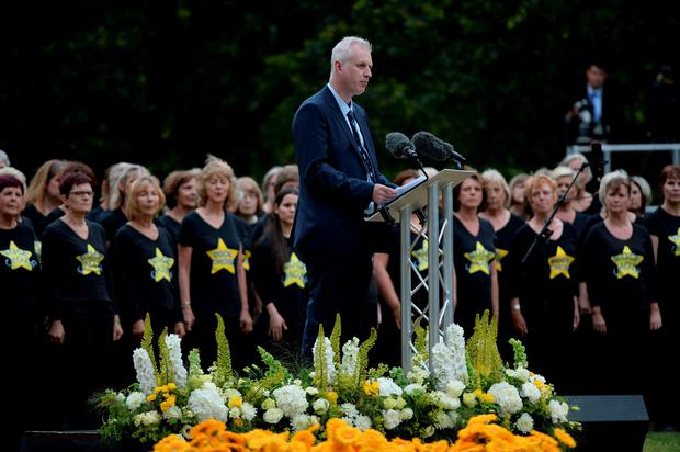 Paul Dadge, who helped the injured following the Edgware Road blast, speaks at the July 7 memorial in Hyde Park, London, as Britain remembers the July 7 attacks amid a welter of warnings about the enduring and changing threat from terrorism a decade on. Anthony Devlin/PA Wire