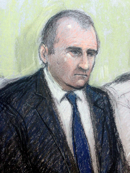 TV OUT Court artist drawing by Elizabeth Cook of Timothy Crook in the Dock at Bristol Crown court. Elizabeth Cook/PA Wire