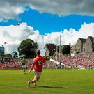Cork's Colm O'Neill attempts a free in the Munster final in Killarney