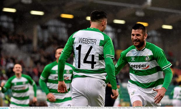 7 July 2015; Shamrock Rovers' David Webster, 14, celebrates with team-mate Gavin Brennan after scoring his side's first goal. UEFA Europa League, First Qualifying Round, Second Leg, Shamrock Rovers v FC Progr?s Niederkorn. Tallaght Stadium, Tallaght, Co. Dublin. Picture credit: David Maher / SPORTSFILE