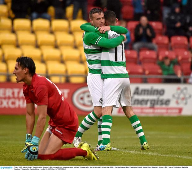 7 July 2015; Kieran Marty Waters, right, Shamrock Rovers, celebrates with team-mate Michael Drennan after scoring his side's second goal. UEFA Europa League, First Qualifying Round, Second Leg, Shamrock Rovers v FC Progr?s Niederkorn. Tallaght Stadium, Tallaght, Co. Dublin. Picture credit: David Maher / SPORTSFILE