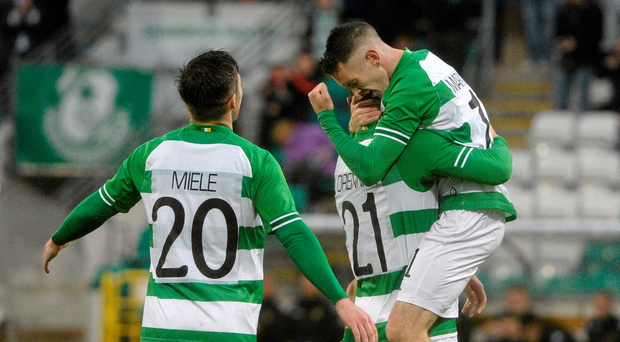 7 July 2015; Kieran Marty Waters, right, Shamrock Rovers, celebrates with team-mates Michael Drennan, centre, and Brandon Miele after scoring his side's third goal. UEFA Europa League, First Qualifying Round, Second Leg, Shamrock Rovers v FC Progr?s Niederkorn. Tallaght Stadium, Tallaght, Co. Dublin. Picture credit: David Maher / SPORTSFILE