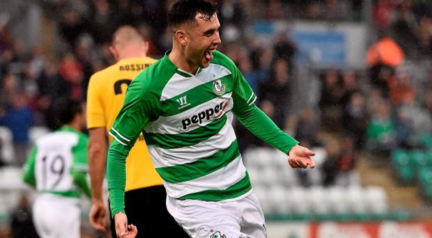 David Webster celebrates after scoring Shamrock Rovers' first goal