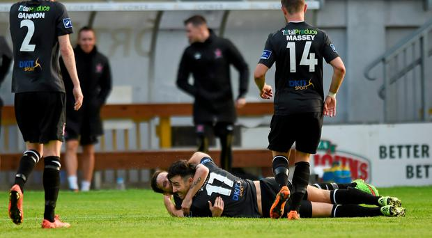 Richie Towell, Dundalk, celebrates after scoring his side's 1st goal with team-mate Darren Meenan
