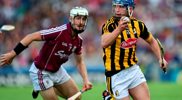 Kilkenny's Ger Aylward and Daithi Burke of Galway in action at last Sunday's Leinster GAA Senior Final